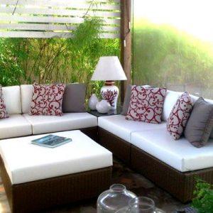 sofa Ambar em aluminio, trama em fibra sintetica com estofados em tecidos para área externa