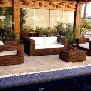 sofá em aluminio, trama em fibr sintetica e tecidos nauticos especiais