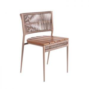 cadeira em aluminio, corda nautica e madeira cumaru