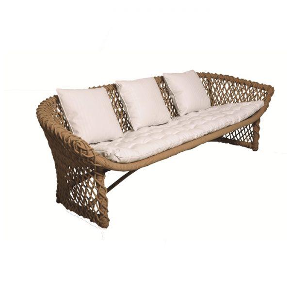 sofá Trieste em aluminio com trama em corda nautica e tecidos nauticos especiais para area externa