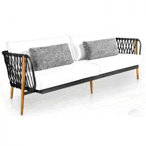 sofa em aluminio, corda nautica e madeira teca