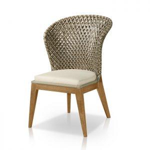 cadeira alta em fibra sintética, madeira Téca, aluminio e tecidos especiais de area externa