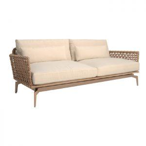 Sofa Ayamara com estrutura em aluminio, trma em corda nautica e tecidos para area externa