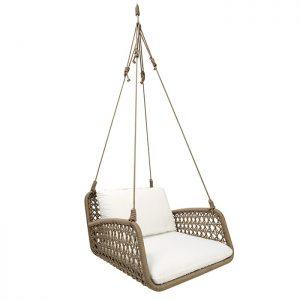 Poltrona de balanço em corda nautica para varanda gourmet e area externa