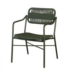 cadeira em aluminio com pintura eletrostatica e trama em corda nautica