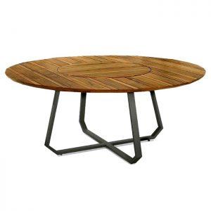 mesa Segovia redonda em madeira e aluminio