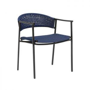 Cadeira nature em aluminio, pintura eletrostatica e trama em corda nautica para varanda gourmet