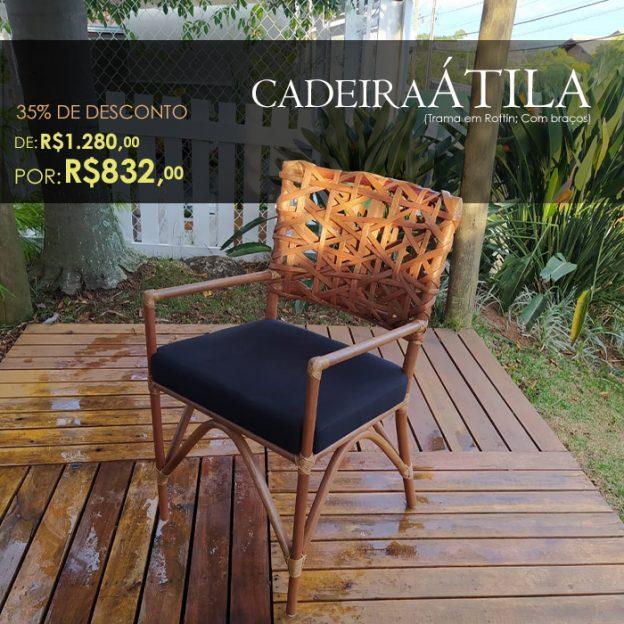 Cadeira Atila em fibra natural para varanda gourmet