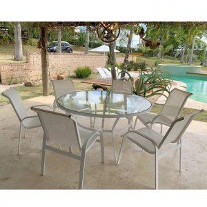 Mesa tampo de vidro e estrutura em aluminio / cadeira tela sling