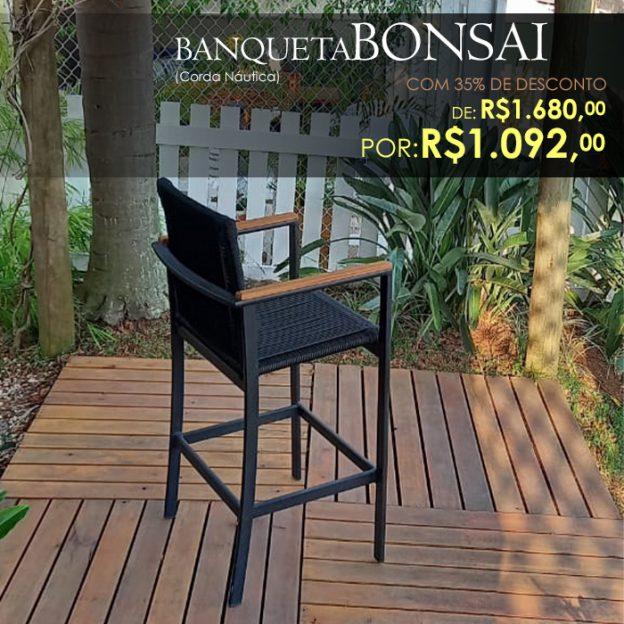 Banqueta Bonsai em corda nautica para area externa e varanda gourmet