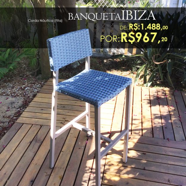 Banqueta Ibiza em corda nautica para varanda gourmet
