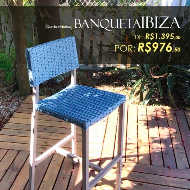 Banqueta Ibiza corda nautica para área externa e varanda gourmet