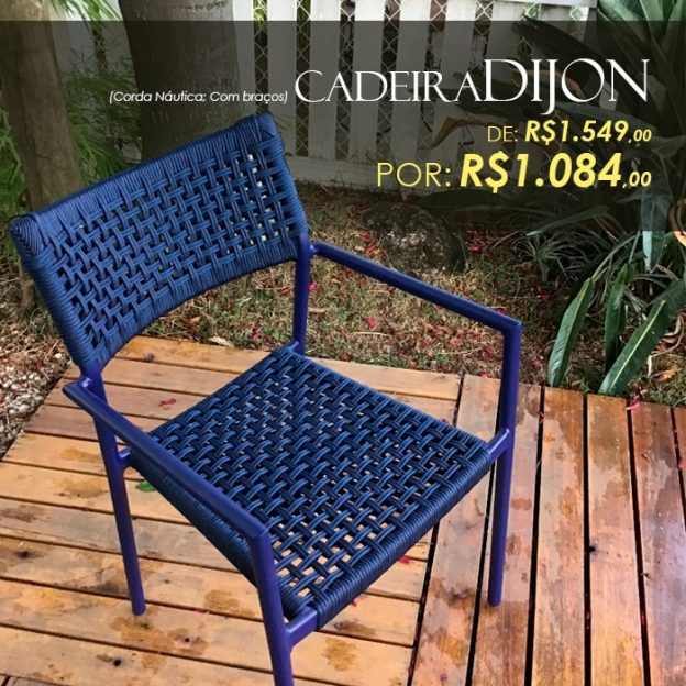 Cadeira Dijon em aluminio e corda nautica para area externa e piscina