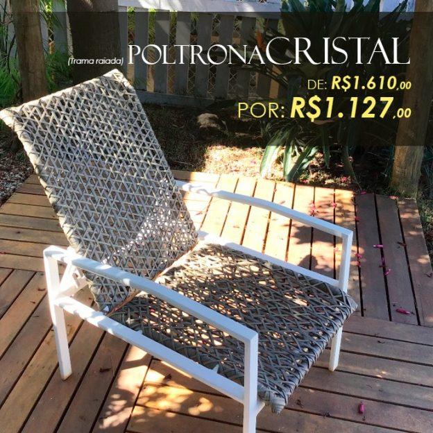poltorna reclinavel cristal fibra sintetica para area externa valinhos, campinas, vinhedo, jundiai