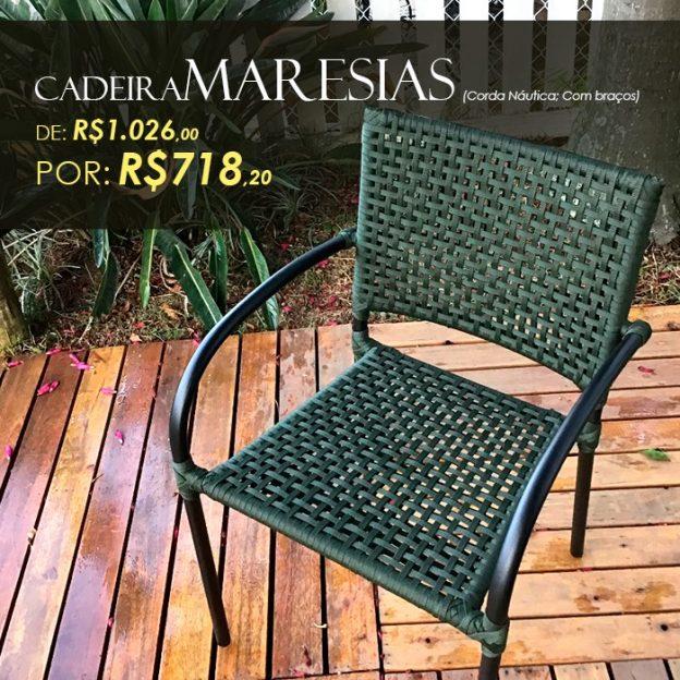 Cadeira Maresias aluminio com trama em corda nautica para área externa e piscina