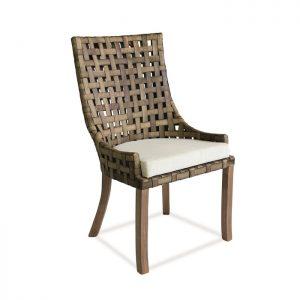 Cadeira Creta em madeira com trama em couro natural para varanda gourmet