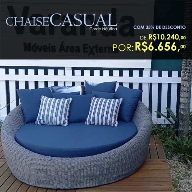 chaise Casual em corda nautica para varanda gourmet