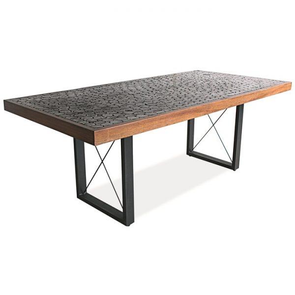 mesa retangular em amdeira para varanda gourmet e area externa
