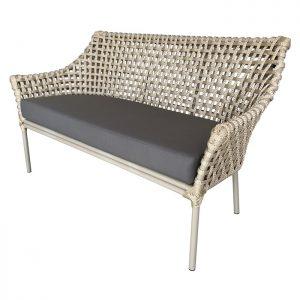 Sofa em aluminio com trama em corda nautica para varanda gourmet e area externa
