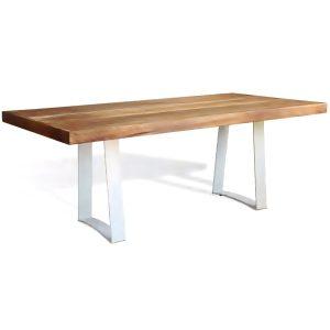Mesa retangular tampo de madeira para area externa