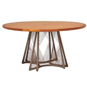 mesa Revia em aluminio e tampo em madeira cumaru para area externa