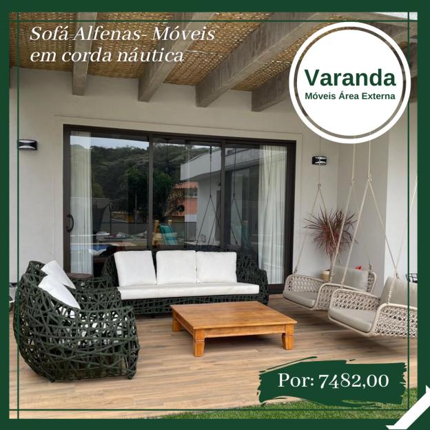 sofa em corda nautica para varanda gourmet e area externa