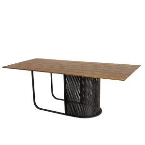 mesa retangular em aluminio com tampo em madeira Teca