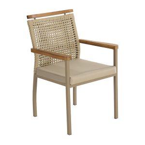 Cadeira em aluminio, trama em corda nautica, madeira teca para area gourmet