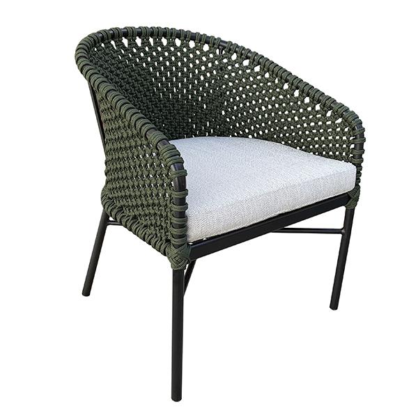 Cadeira em alumínio com trama em corda nautica para varanda gourmet