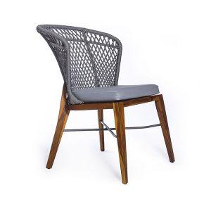 cadeira em corda nautica, madeira teca, aluminio para area externa