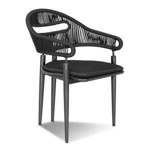 cadeira em aluminio, corda nautica e madeira teca para varanda gourmet