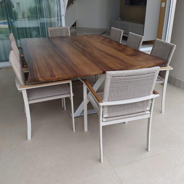 Mesas e cadeiras em corda nautica para varanda gourmet