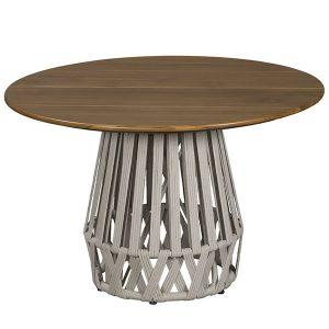 mesa em corda nautica e tampo em madeira Teca para área externa