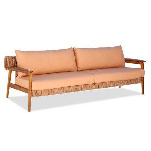 sofa em corda nautica e madeira Teca para varanda gourmet e area externa