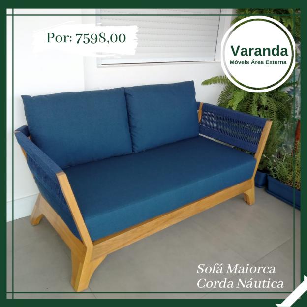 sofa em madeira e corda nautica para area externa