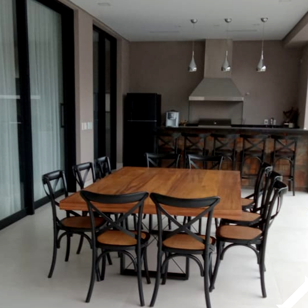 mesas tampo em amdeira para varanda gourmet e area externa